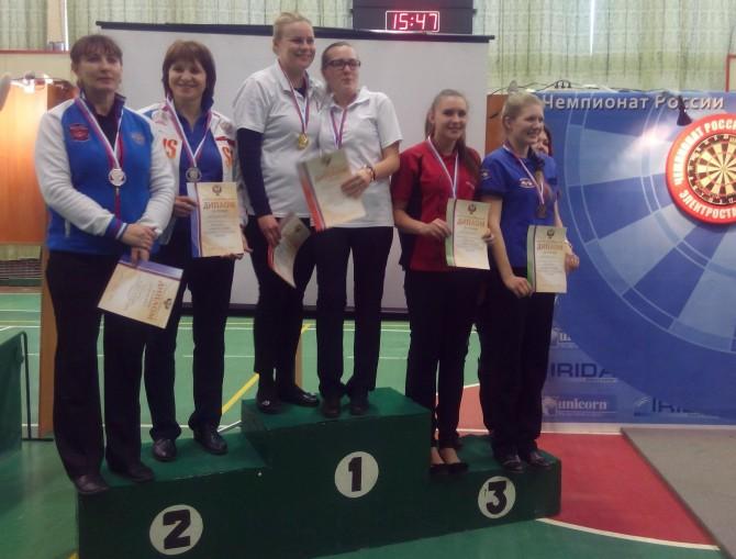 Анастасия Добромыслова и Марина Шершукова на подиуме чемпионата России