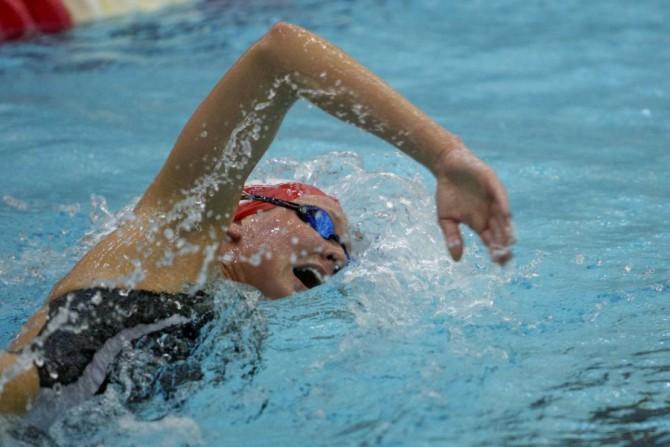 На соревнованиях по плаванию