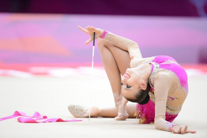 На соревнованиях по художественной гимнастике