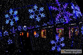 новый год огоньки снежинки